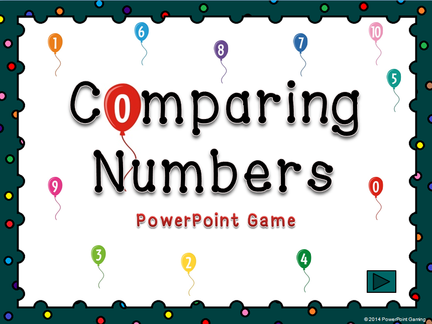 Kindergarten Comparing Number Balloon Powerpoint Game Comparing Numbers Kindergarten Powerpoint Games Numbers Kindergarten