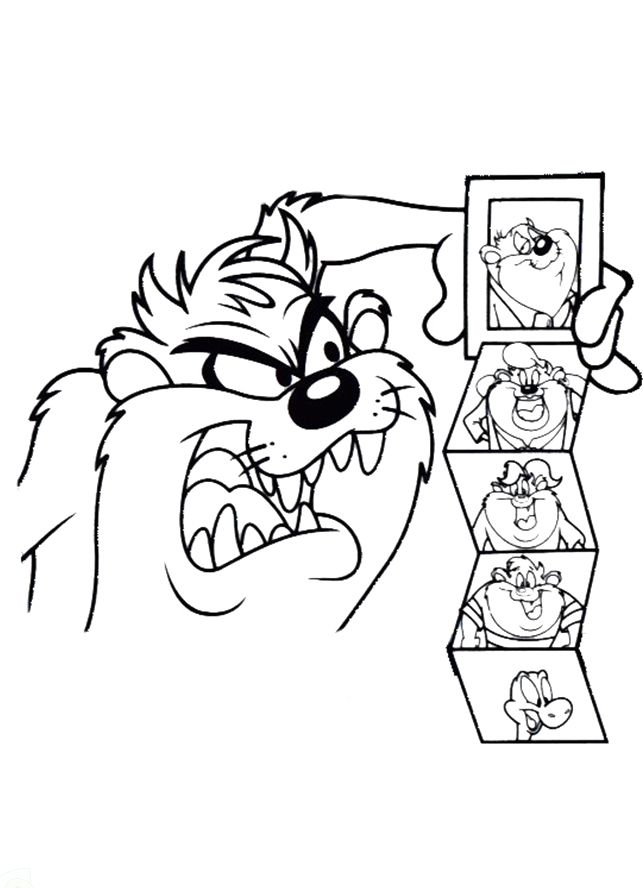 Tasmanian Devil Viewing Family Photos Coloring Pages - Looney Tunes ...