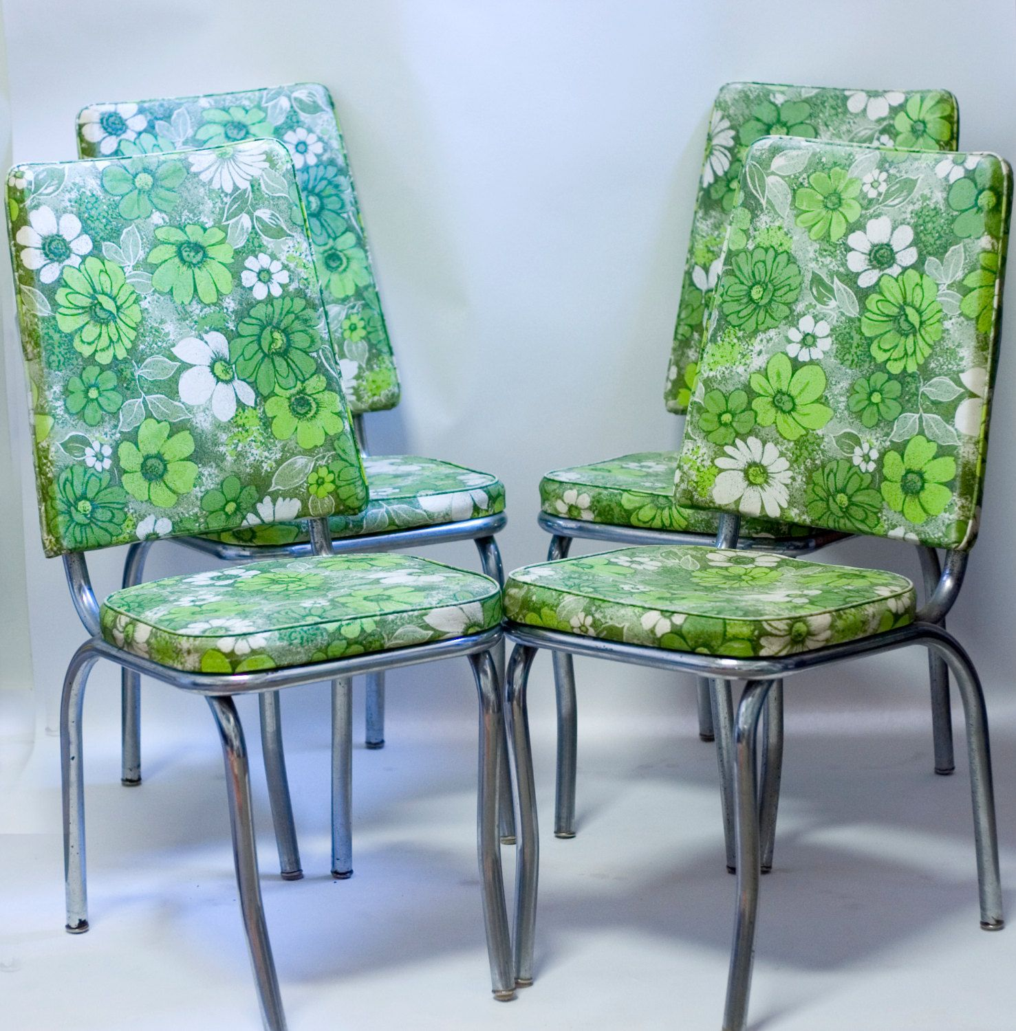 Mid Century Chrome Kitchen Chairs 1960s Green Floral Vinyl Ours