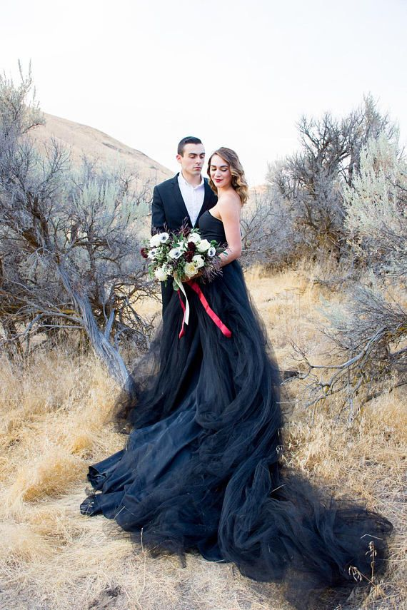 Blue Black Wedding Dresses with Sleeves