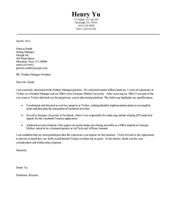 MBA Cover Letter Example Cover letter example, Letter example - supervisor job description