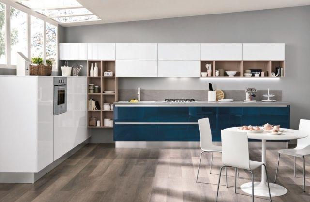 einrichtungsideen für küche blau-weiß stühle-essbereich boden ...