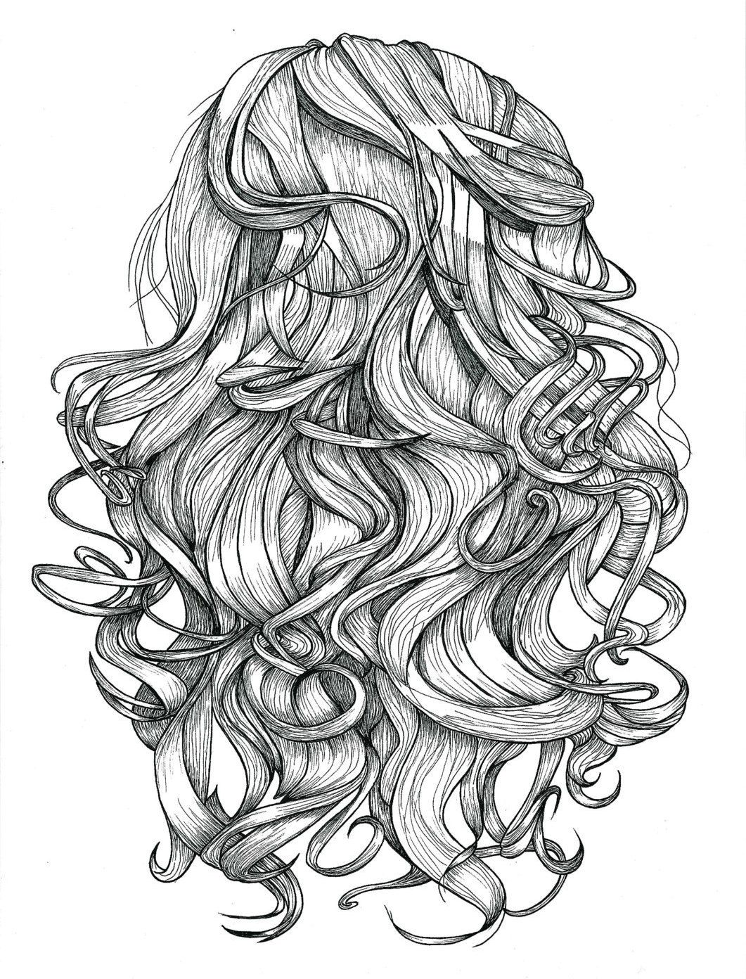Curly Hair Print Of Original Illustration Ink Black And White Line Art Portrait Hair Wall Art Poste Hair Print Curly Hair Styles Black And White Drawing