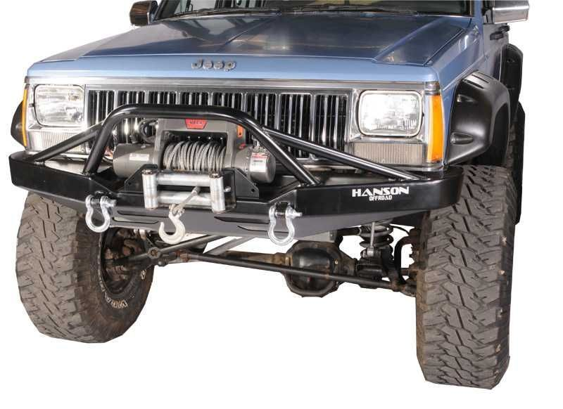 Hanson Offroad Prerunner Front Bumper In Black For 84 01 Jeep Cherokee Xj Comanche Mj Jeep Xj Winch Bumpers Jeep Xj Mods