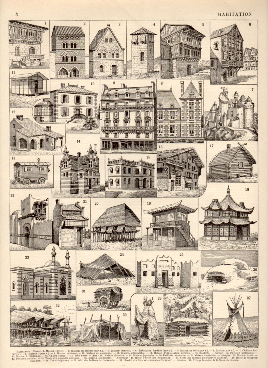 1897 House Architecture, Antique Print, Vintage Lithograph, Architectural  Stylesu2026