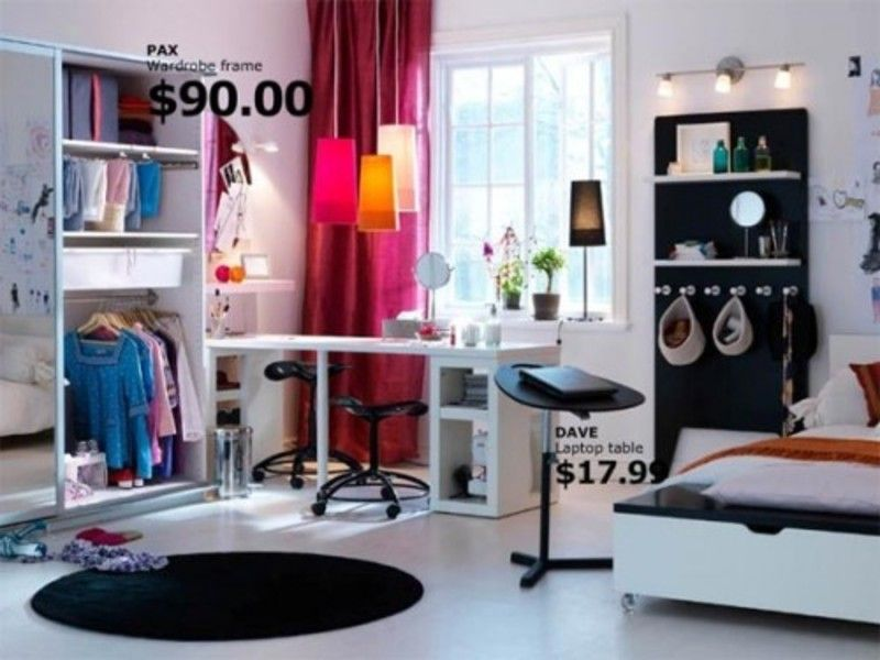ikea-teen-room: red curtains, black rug, wall unit