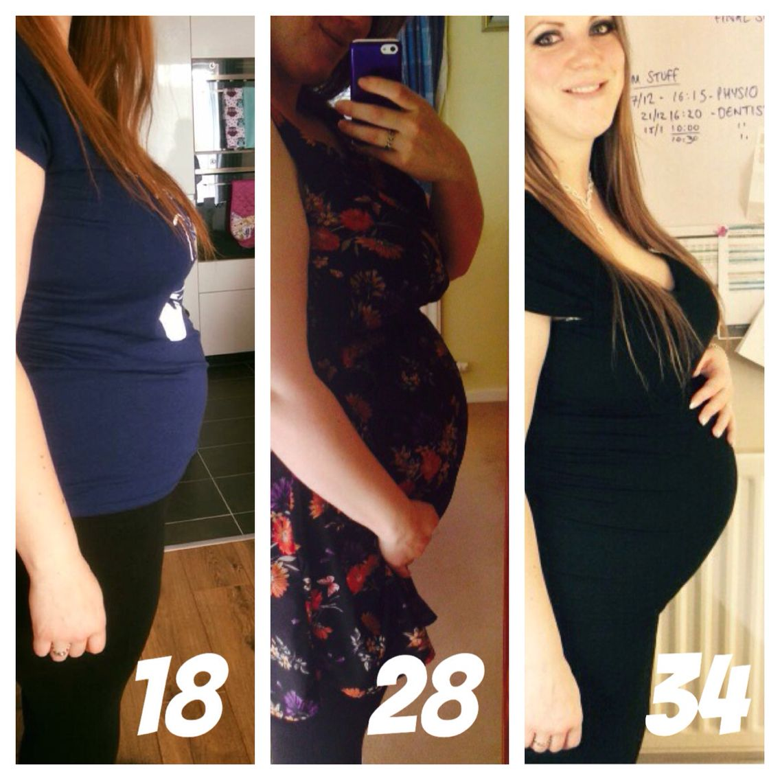 Ally plus size pregnancy weeks 18, 28 and 34. No weight gain! ��