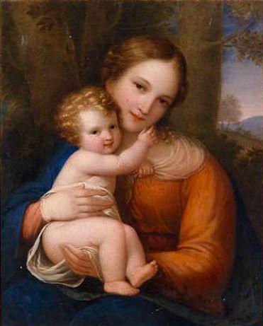 """Natale Schiavoni, """"Madonna mit Kind vor Landschaftlichem Hintergrund"""" (""""Madonna with Child Against Scenic Background"""")"""