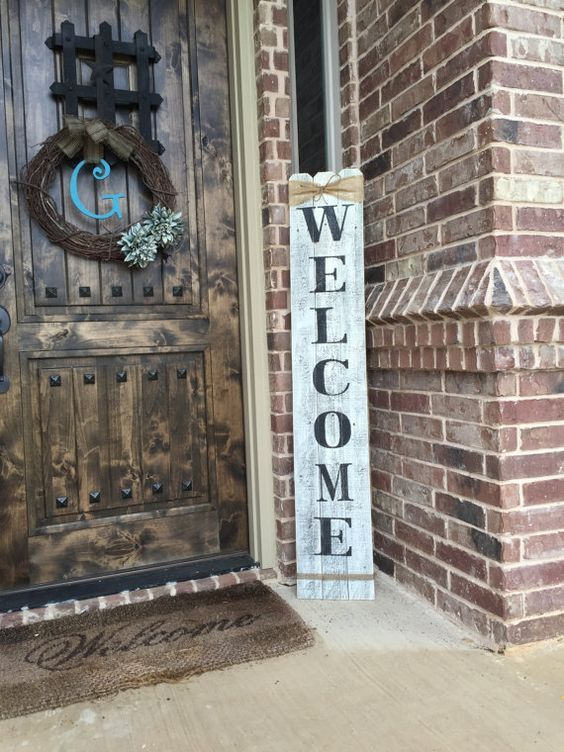 Rustic Wood Welcome Sign, vertical wooden welcome sign, 58  tall by approximately 10  wide,Welcome sign front porch,front door welcome sign