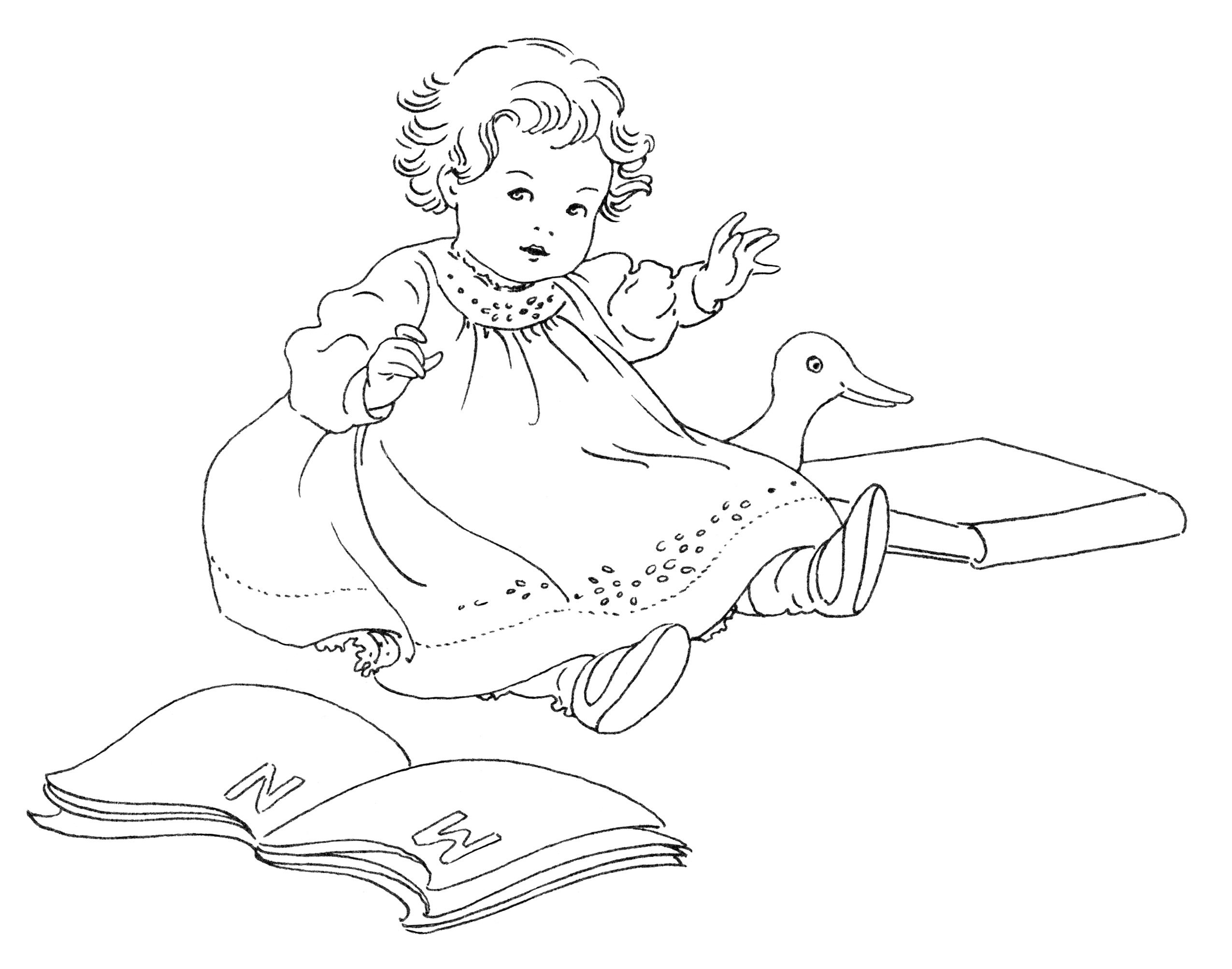 Free Vintage Image Baby With Books