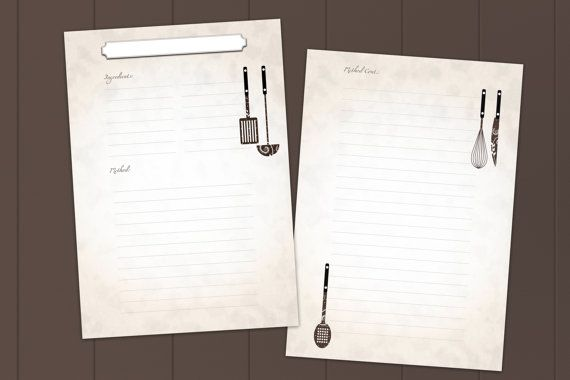 recipe template interactive printable  u0026 fillable by
