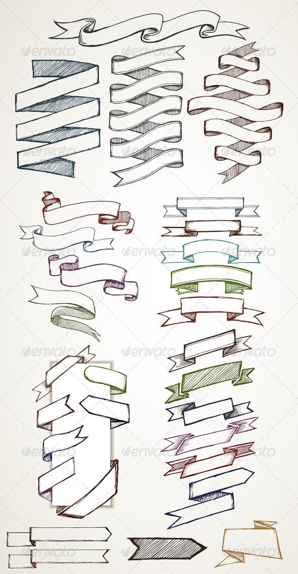 Banners and Labels Sketches - Decorative Symbols Decorative
