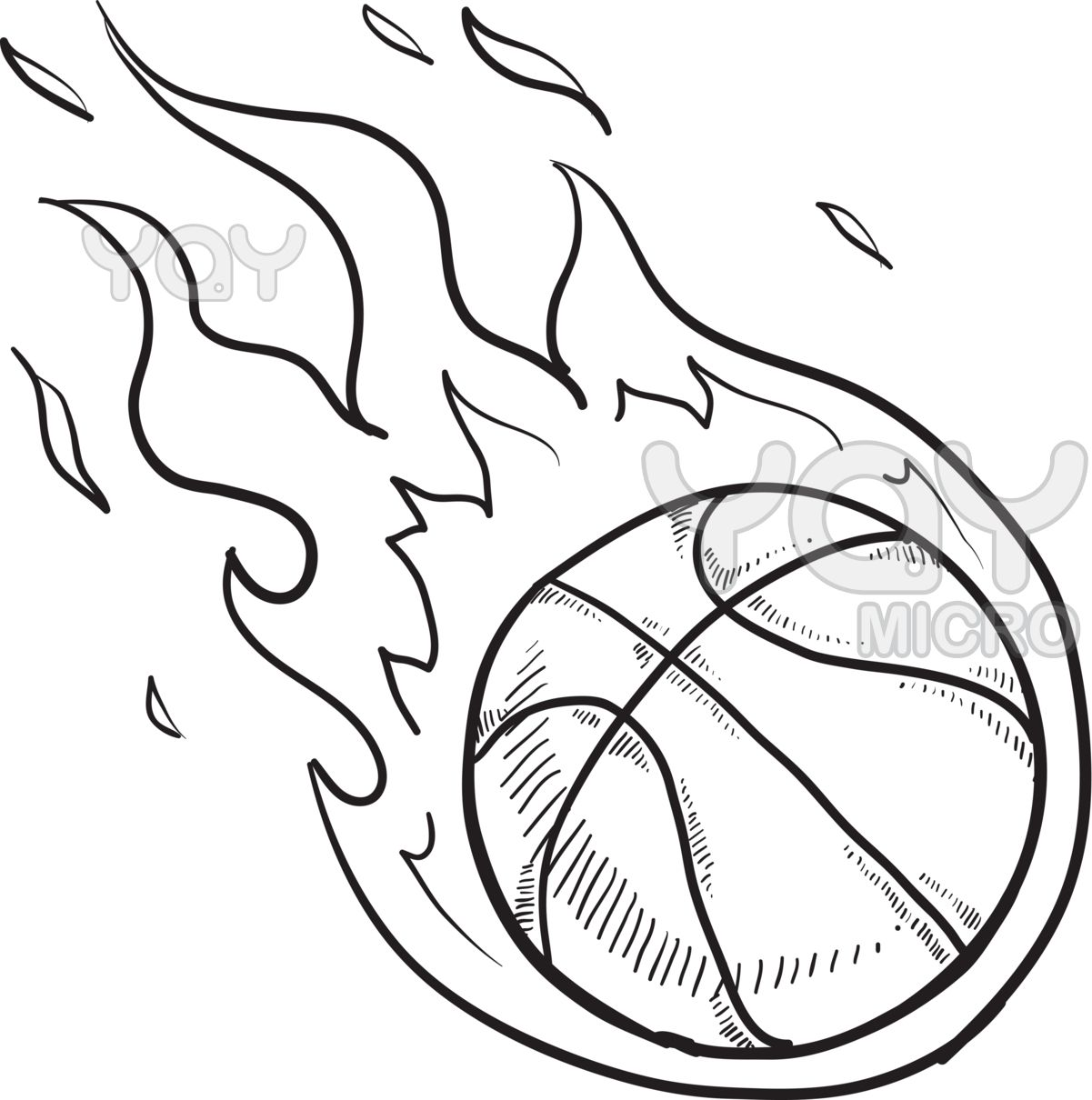 Basketball Coloring Page Pages Basketball Drawings Ball Drawing