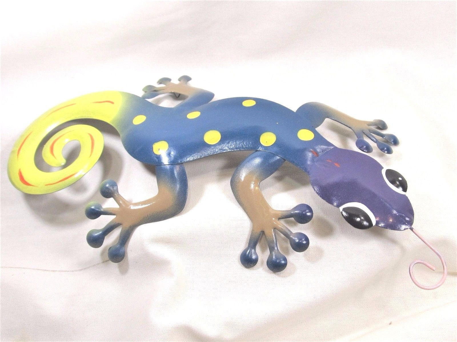 Gecko hand painted metal wall art home decor f painted metal
