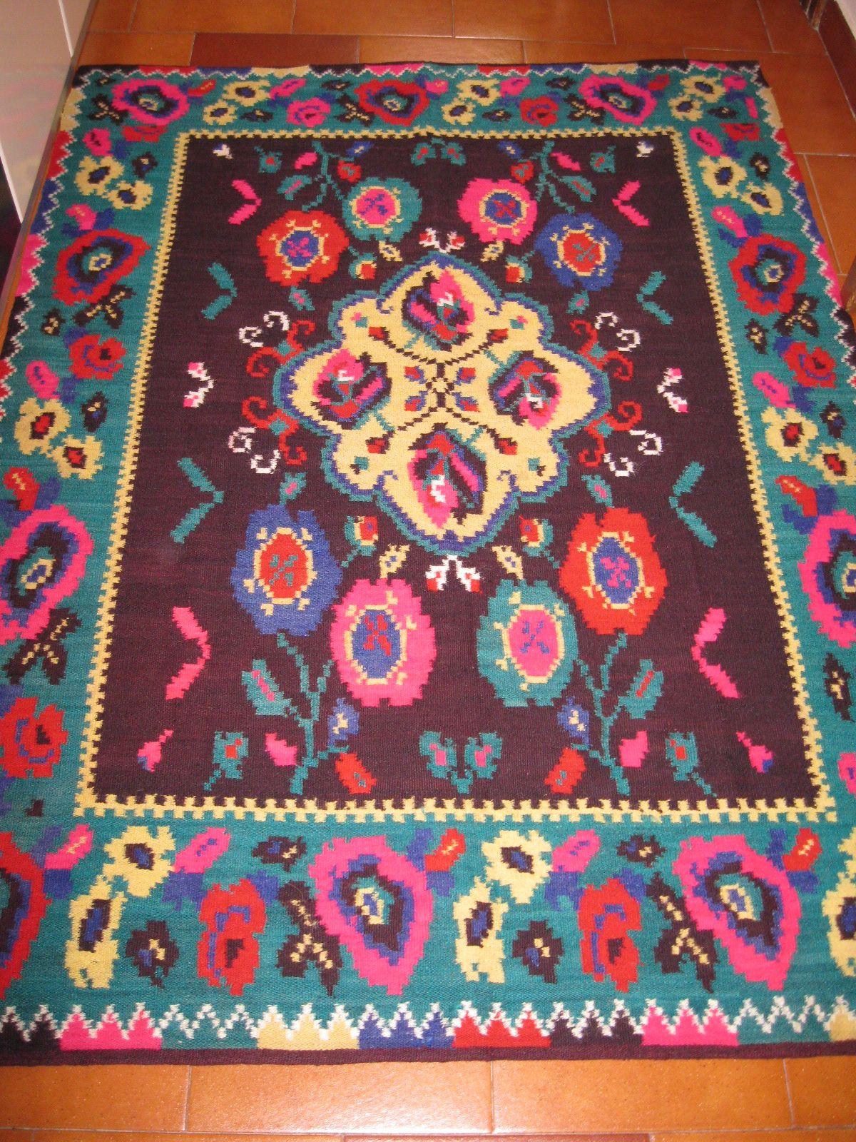 Beautiful Antique Traditional Romanian Woven Wool Carpet