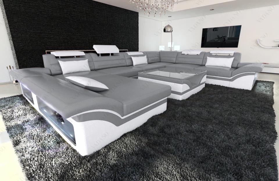Wohnlandschaft ENZO XXL in weiß-schwarz - Exklusive Designer Möbel - designer mobel materialmix