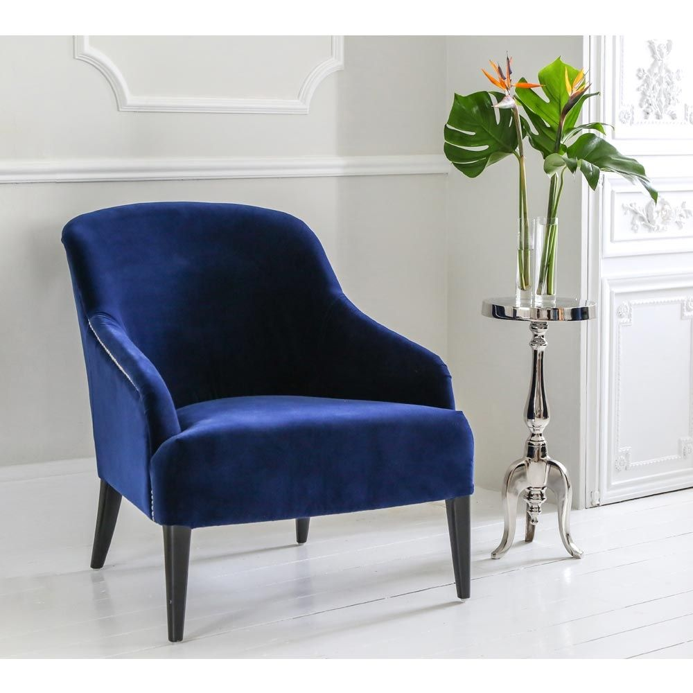 Surprising Blue Velvet Armchair With Silver Studs Imperial Chair Alphanode Cool Chair Designs And Ideas Alphanodeonline
