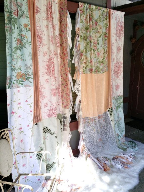 Shabby chic boho curtains drapes panels hippie hippy by hippiewild ...