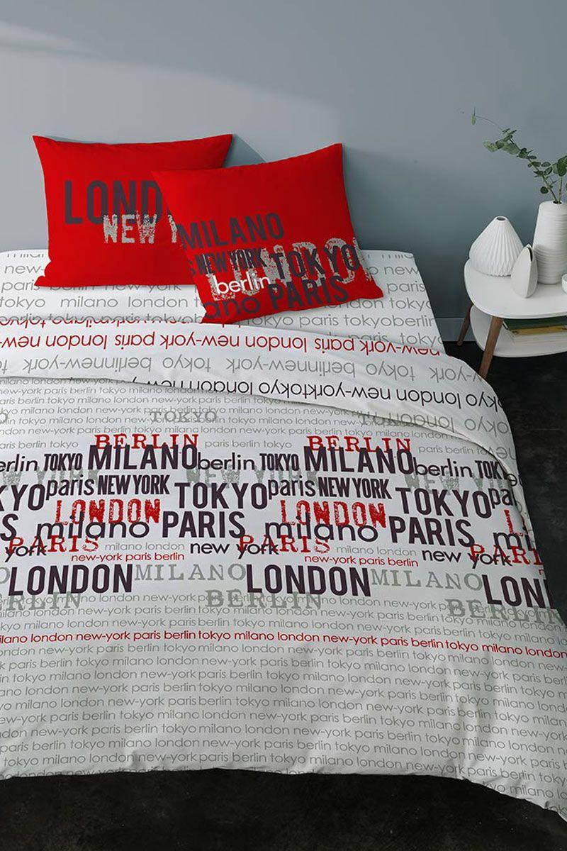 Tendance Deco Urbaine Contemporaine Paris Housse De Couette World City Rouge Parure De Lit Deco Chambre Couleur Deco Chambre Londres