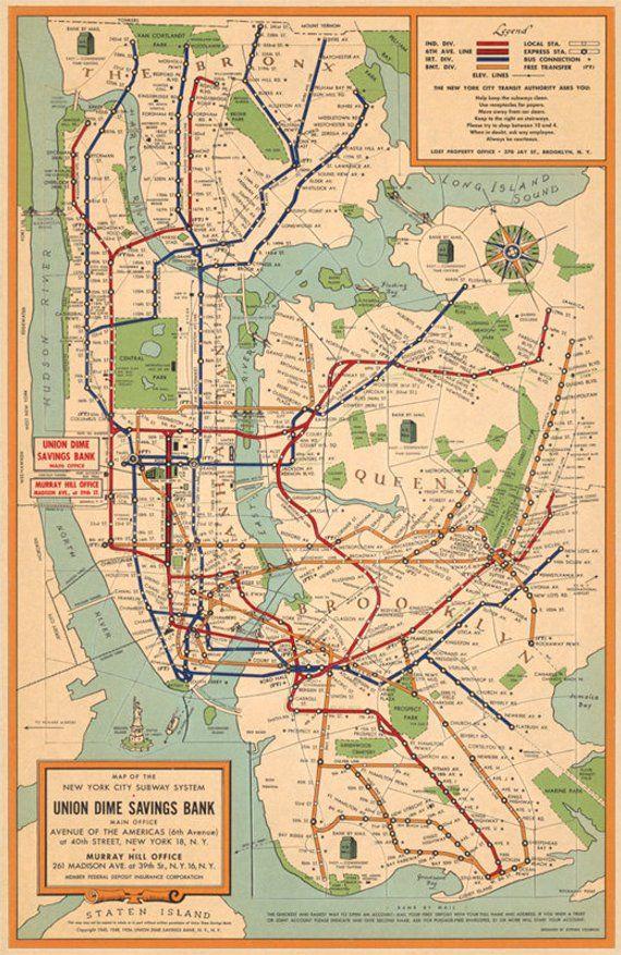 Nyc Subway Map Paper.New York City Subway System Map Nyc Subway Map Vintage Map