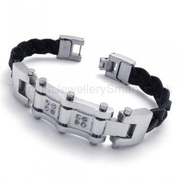 Cool Mens Titanium Magnetic Inlay Diamond Bracelet 19962