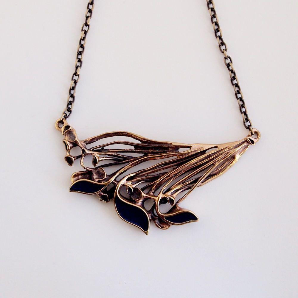 "Hannu Ikonen for Valo-Koru, Vintage modernist black enamel and bronze ""Reindeer Moss"" necklace, 1970s. #Finland | finlandjewelry.com"
