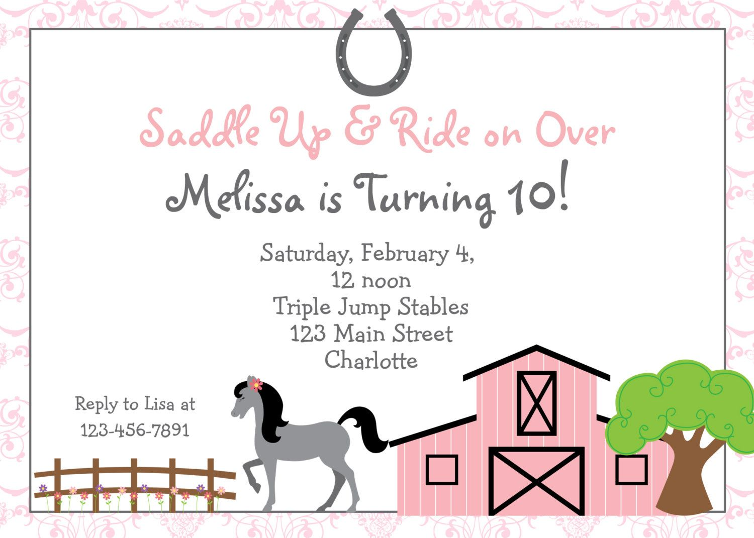 Free Printable Horse Riding Party Invitations | Birthday invitation ...
