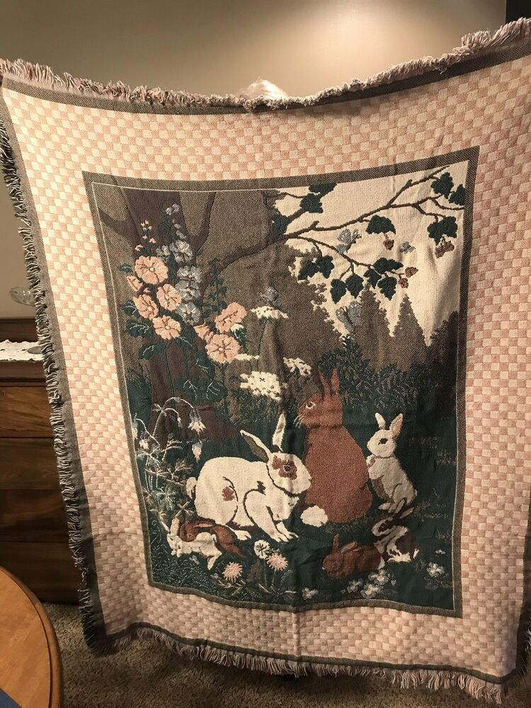 Goodwin Weavers Rabbits Bunnies The Garden 100 Cotton Afghan