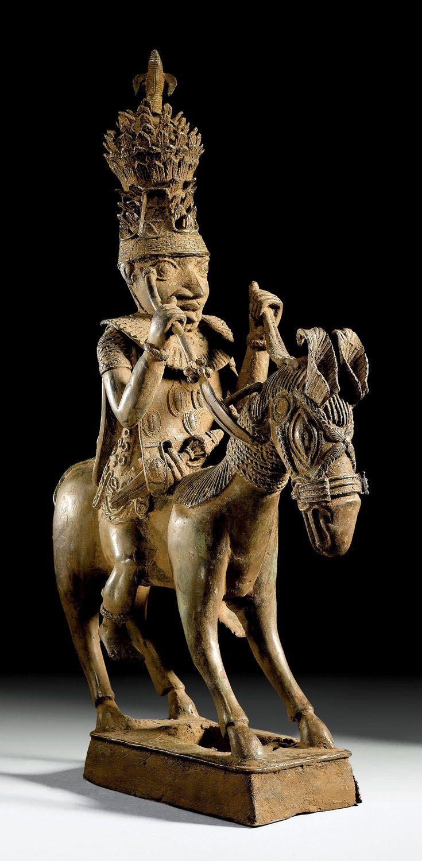 Africa   Brass equestrian statue from Nigeria   ca. 16th - 17th century