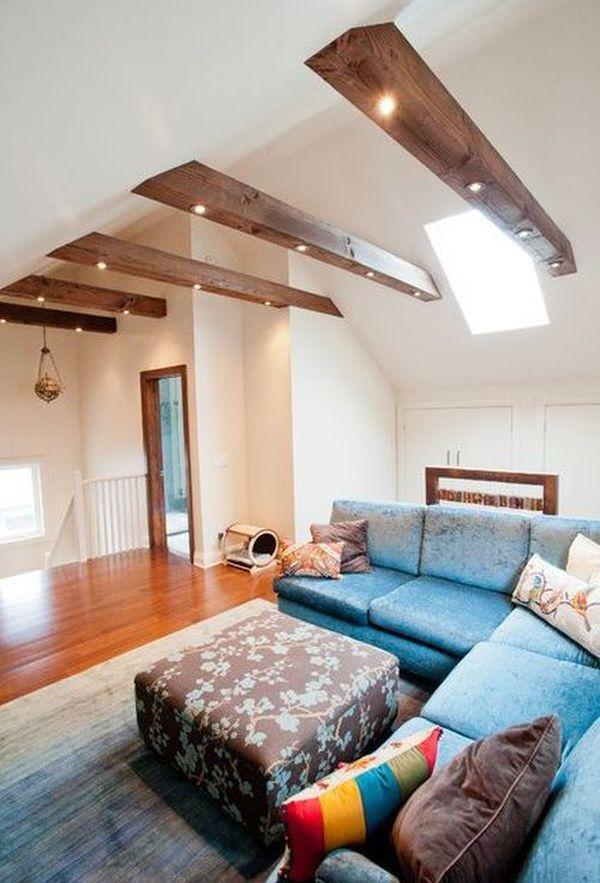 Wohnzimmer mit Balken, die begeistern werden #vaultedceilingdecor