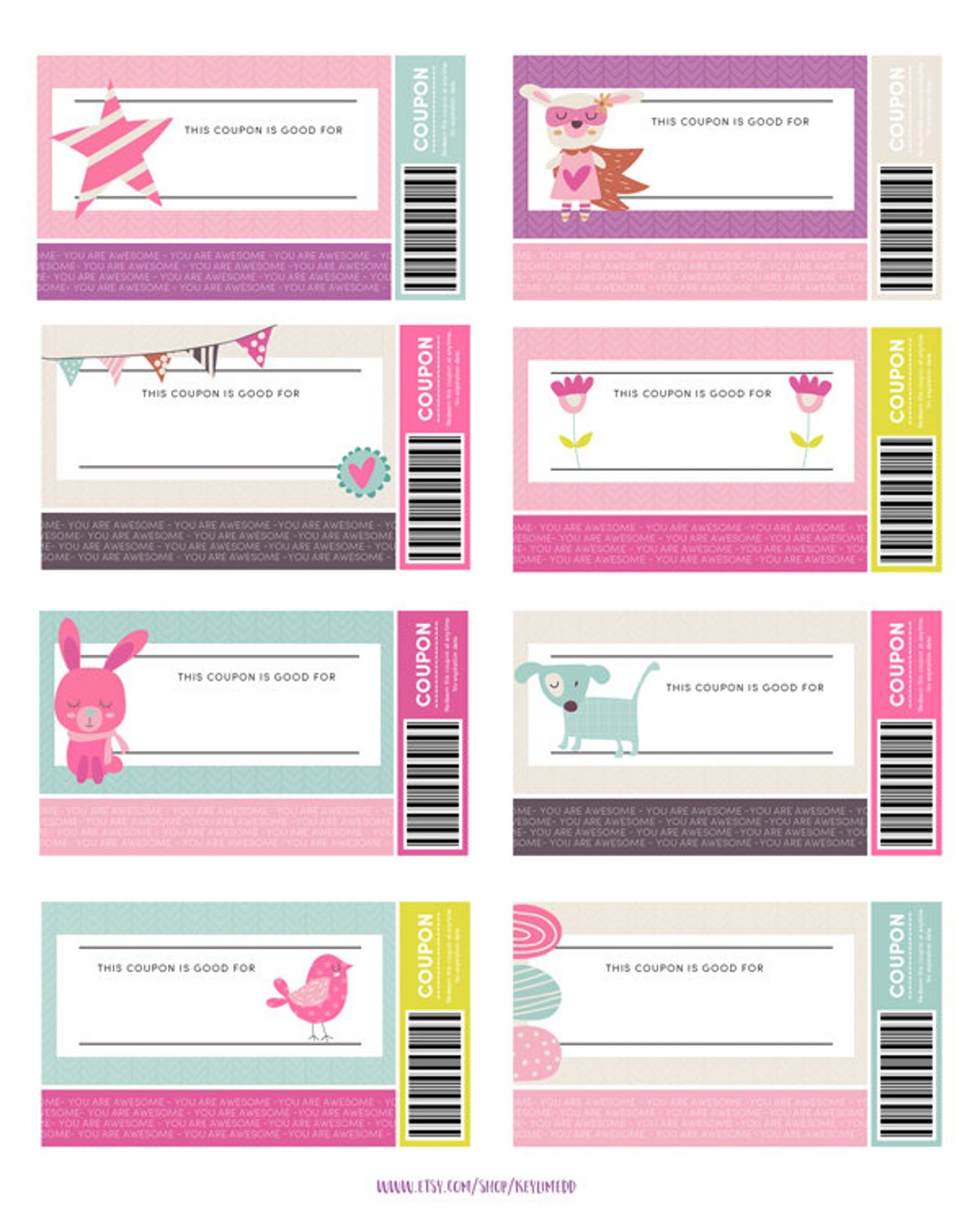 Kids Reward Coupons Love Coupons Instant Download | Etsy