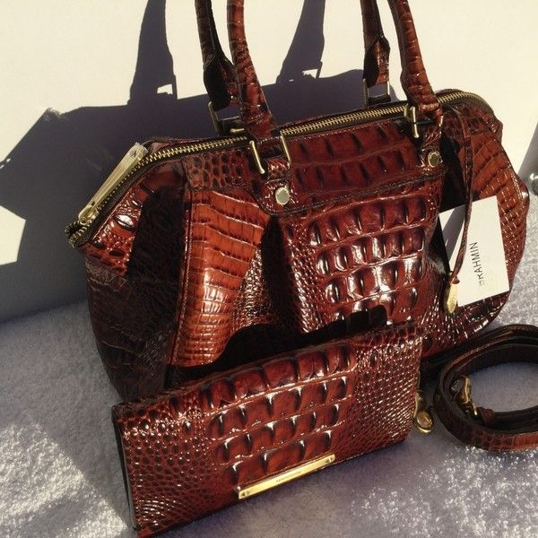 Pre Owned Brahmin Nwt Small Faye Melbourne Ady Wallet Pecan Satchel Red Satchel Leather Satchel Bags