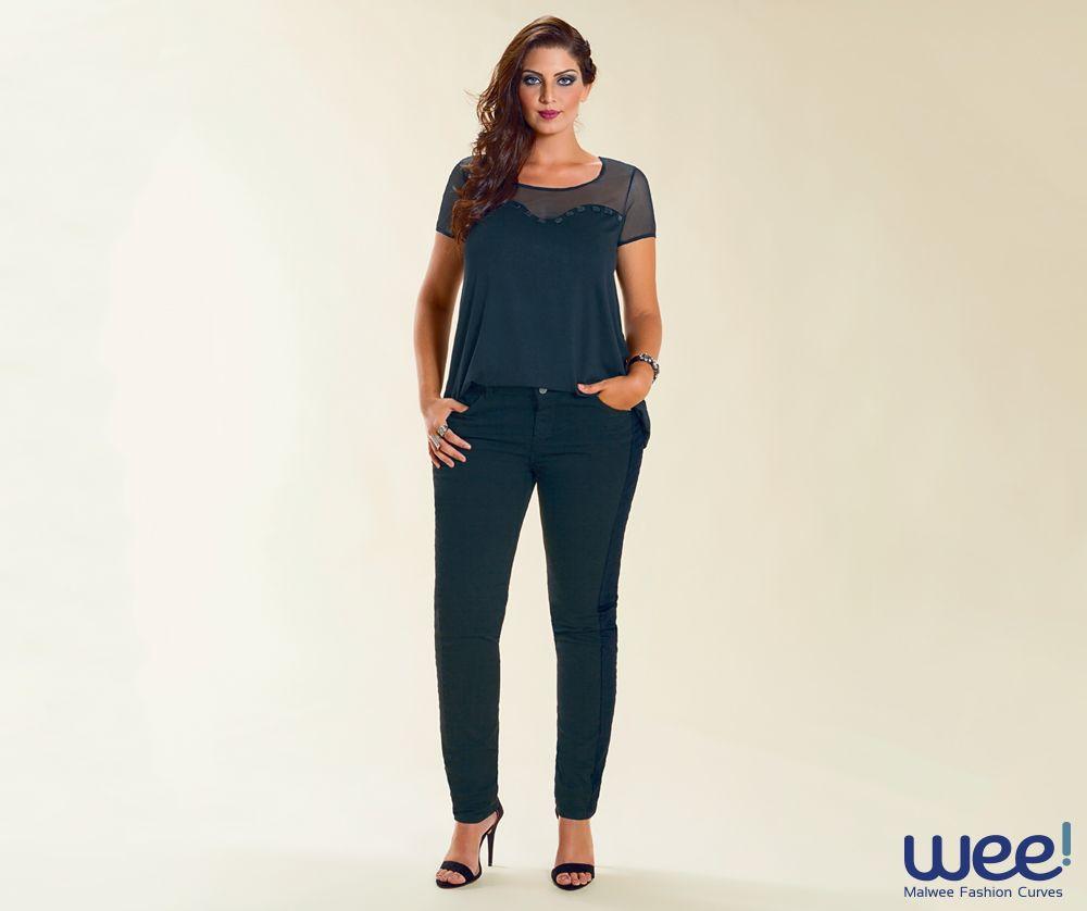 Calça jeans com blusa preta formam uma combinação para ser usada sem medo. #weefashioncurves #wee #curves