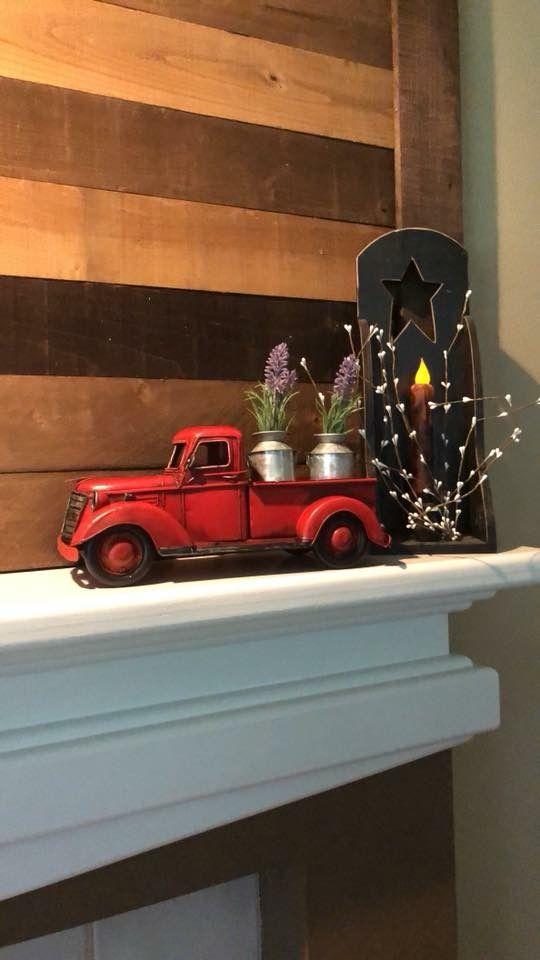Little Red Truck Spring Time Lavender Milk Tins Primitive Decor Red Truck Decor Red Truck Primitive Decorating