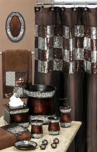 Elite Copper Shower Curtain W Sequins Popular Bath Fabric