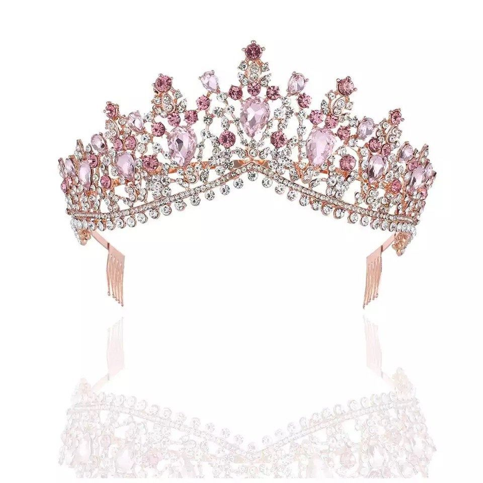 Tiara de Luxo Zircônia Pétalas Pink e Rosa Nude Prata