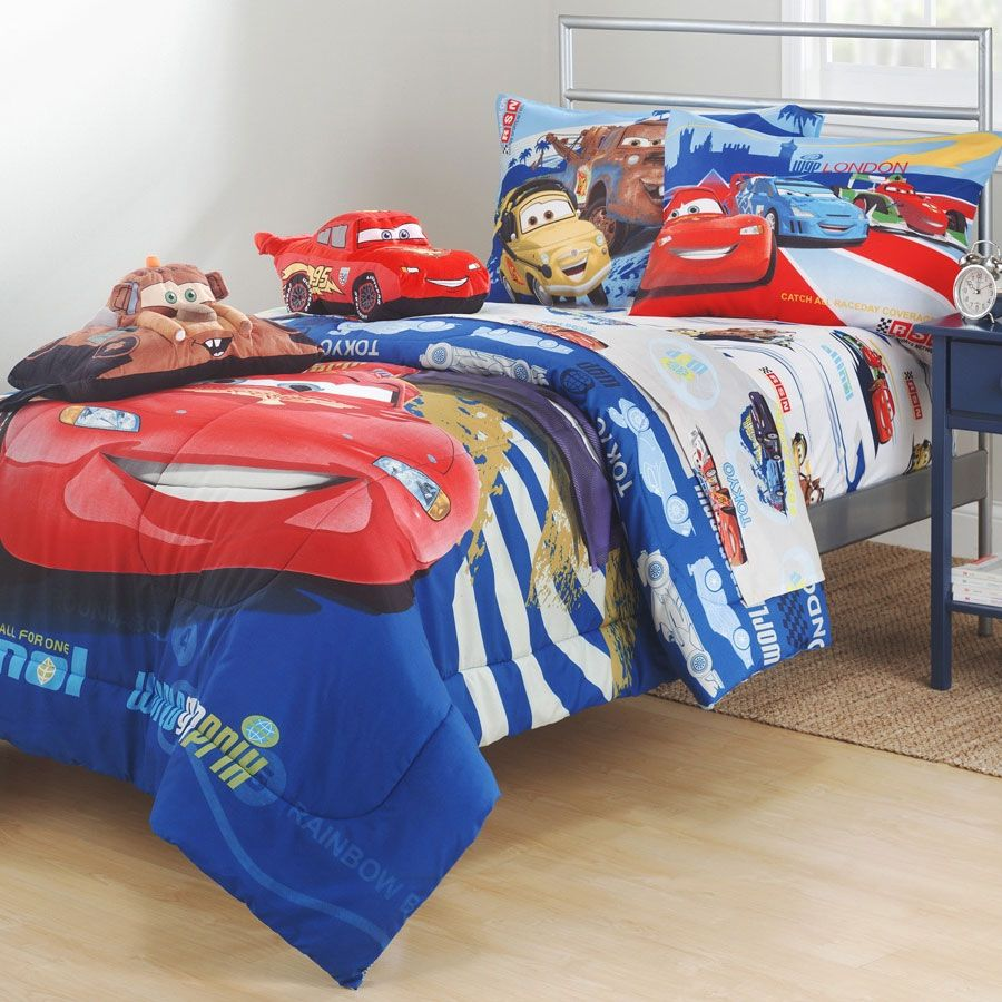 Disney Cars Track Burn Bed Comforter Trains Planes And Trasportation Theamed Decor