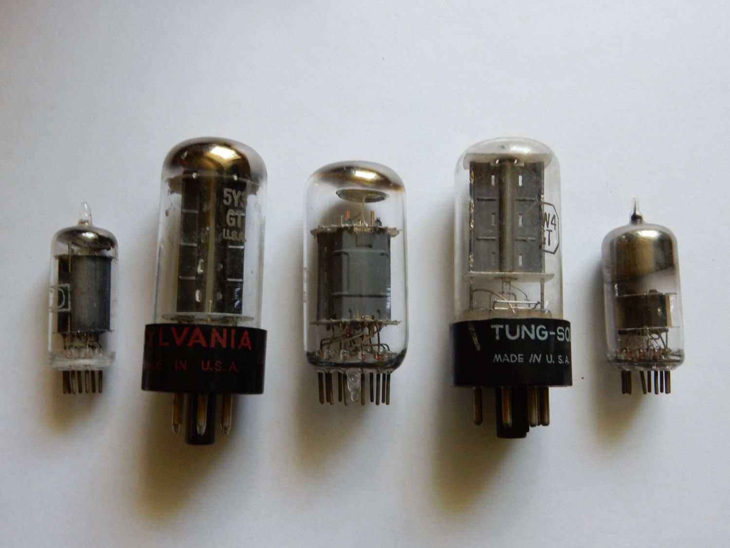 5 Used Glass Vacuum Tubes For Assemblage Steampunk Art Or By Tube Diodes Firedandfused