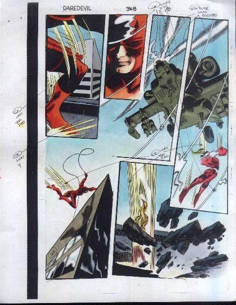 Original 1997 Colan Daredevil 368 Marvel Color Guide Art Page 10 X Men Omega Red Marvel Coloring Art Pages Colorist Art
