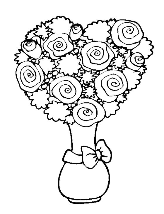Rose Flower And Unique In The Vase Coloring Page For Kids