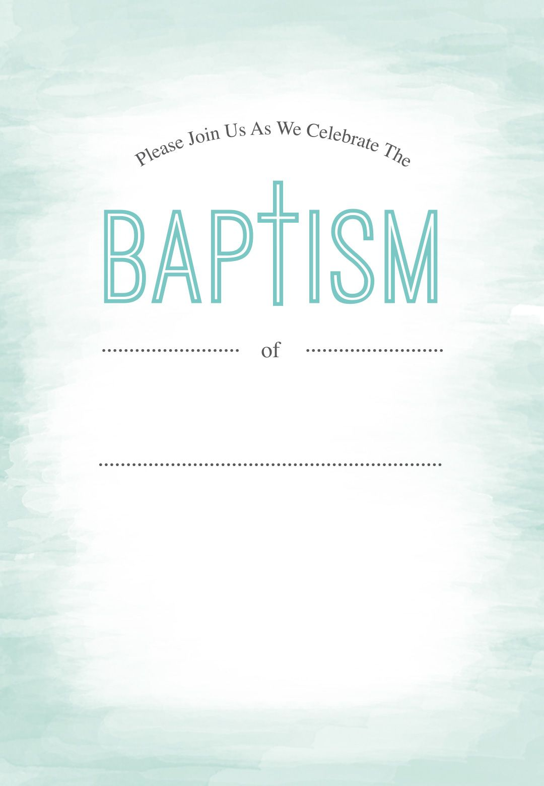 Water Free Printable Baptism Christening Invitation Template