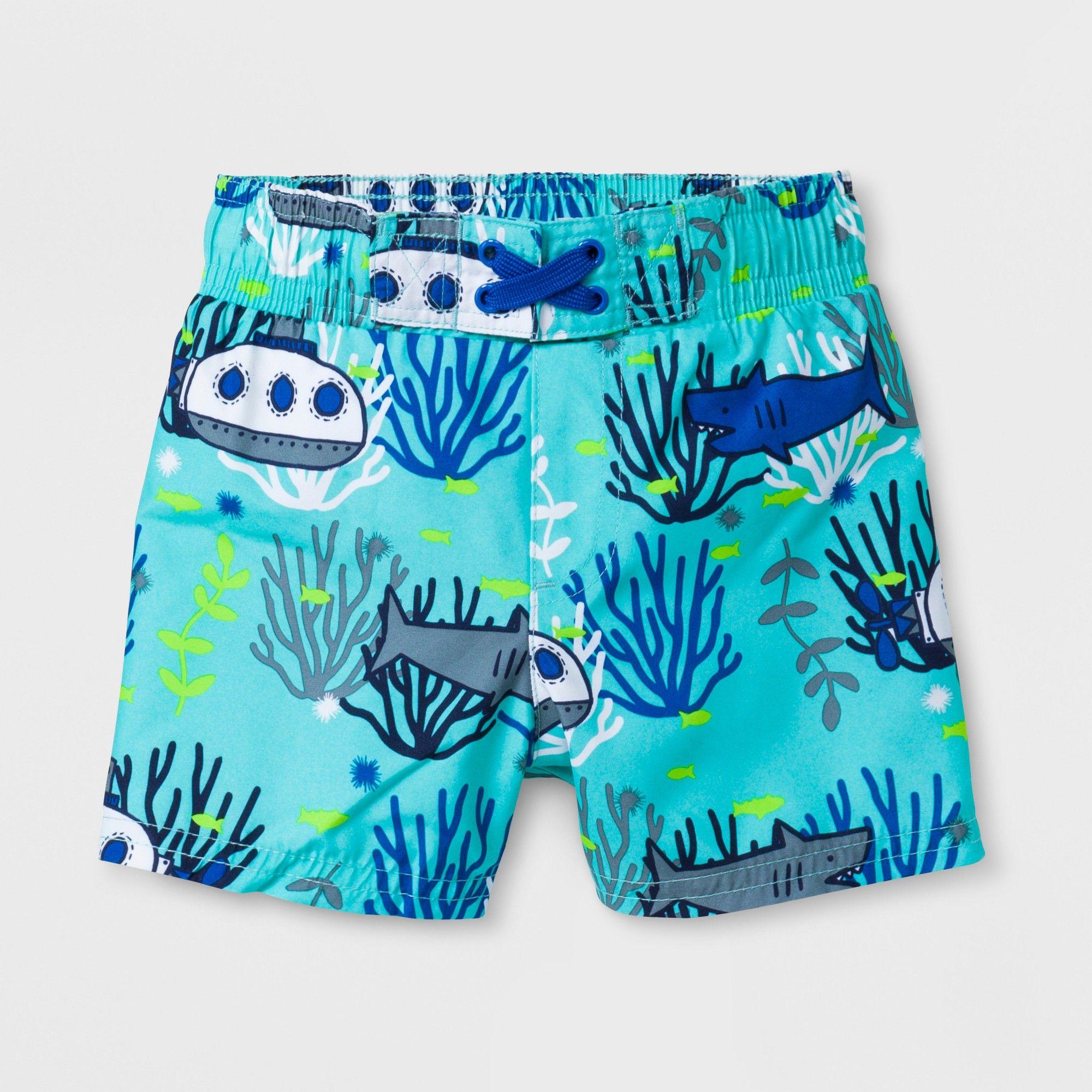 6b8928b89 Baby Boys' Submarine and Shark Swim Trunks - Cat & Jack Aqua 12M, Blue