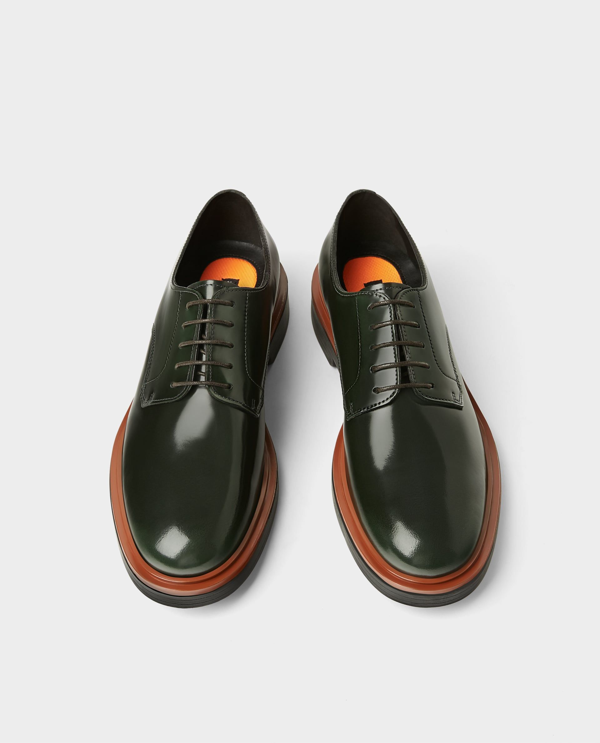 Image 2 Of Bottle Green Leather Derby Shoes From Zara Ayakkabi