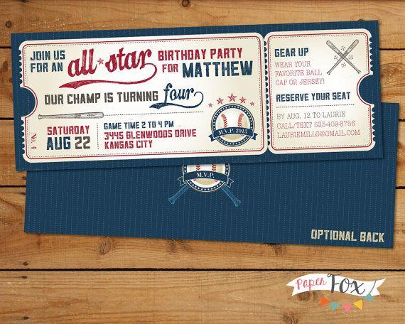 Vintage Baseball Birthday Invitation By PaperFoxStudios On Etsy