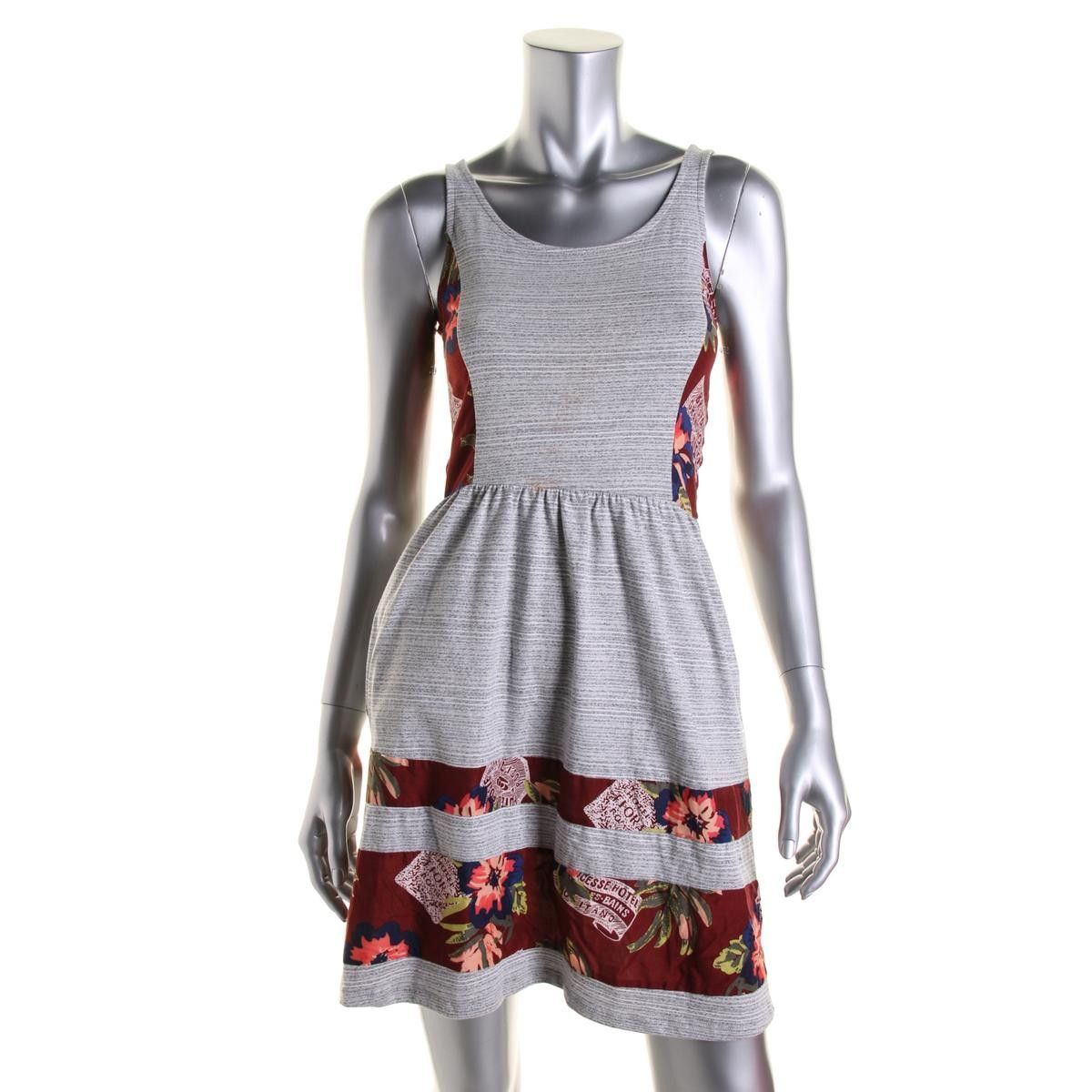 Maison Jules Womens Colorblock Sleeveless Casual Dress