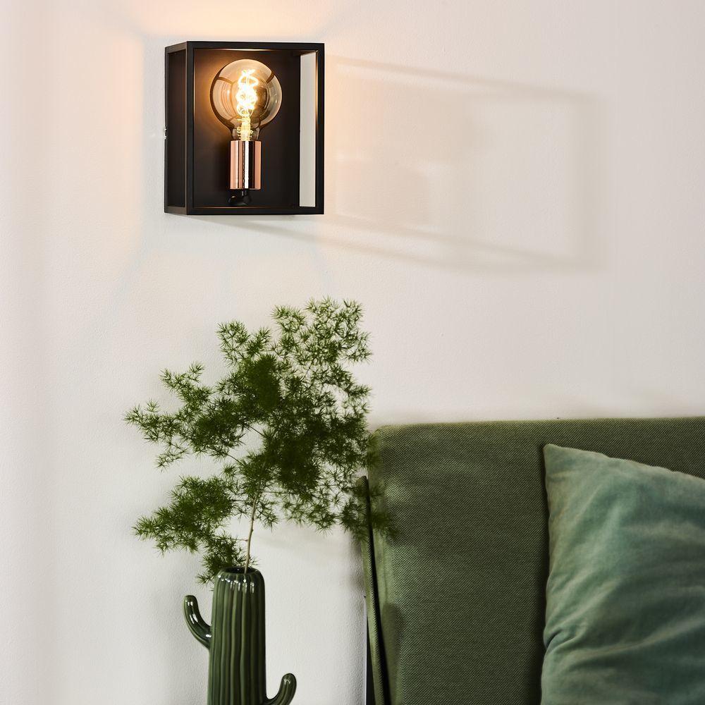 Wandleuchte Arthur In Schwarz Und Kupfer E27 Wandleuchte Wandbeleuchtung Und Wohnzimmer Leuchte