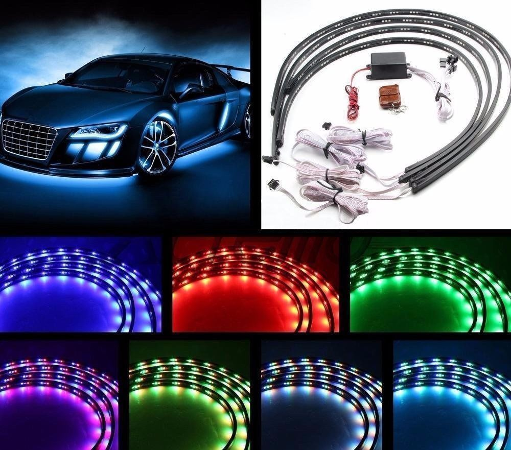 Led Light Strips For Cars Glamorous 4Pcs 7 Color Led Strip Under Car Tube Underglow Underbody System Design Ideas