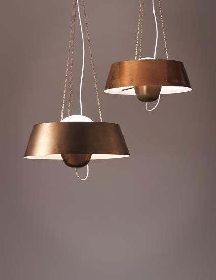 Arne Jacobsen; Opaque Glass and Brass 'Aarhus' Ceiling