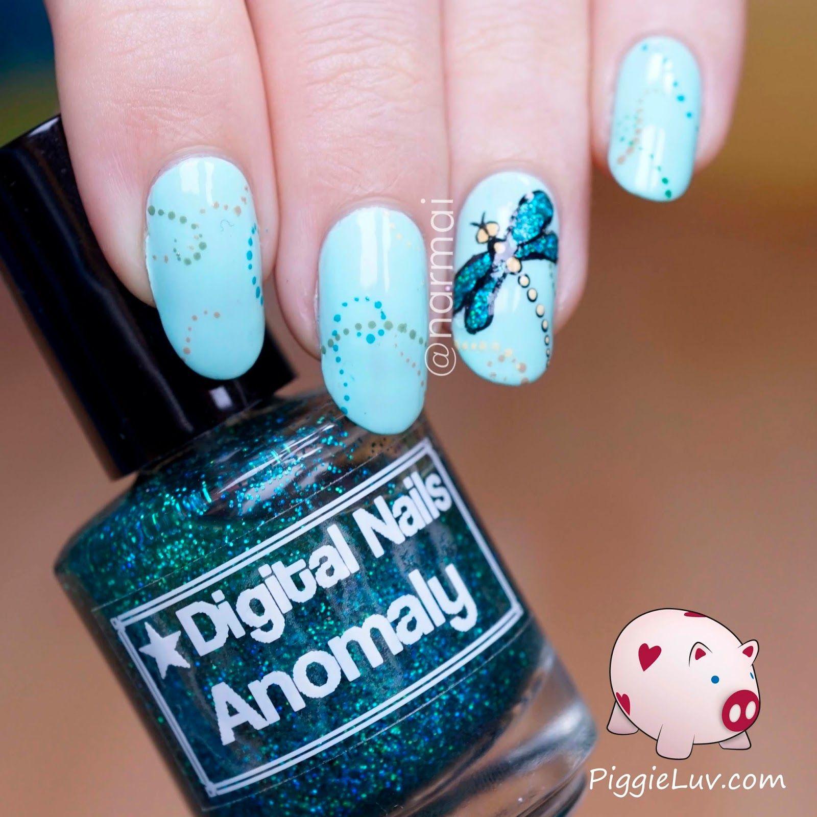 Glitter dragonfly nail art | Makeup sponges, Dragonfly nail art and ...