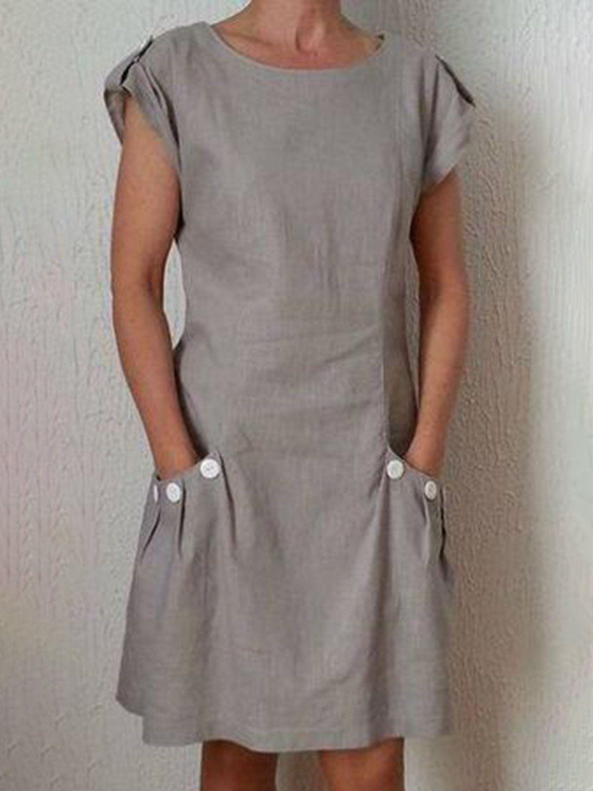Photo of Casual Linen Dress Short Sleeve Pockets Buttoned Mini Dresses
